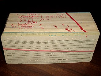 Punched card - A deck of punched cards comprising a computer program