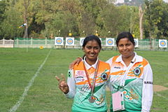 Purnima mahato with deepika kumari at world cup final,istanbul.jpg