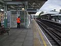 Putney Bridge stn westbound platforms Fulham FC access closed.JPG