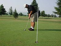 Golf, a kind of sport where moving has a much lesser part than dexterity.