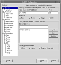 PuTTY 0.58 main configuration dialog on FVWM