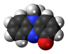 Space-filling model of the pyocyanin molecule