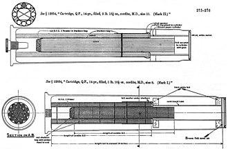 QF 14 pounder Maxim-Nordenfelt naval gun - Image: QF14pdr Cordite Cartridge 2lb 15.25oz Mk II Diagram