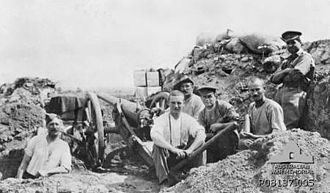 Ordnance QF 12-pounder 8 cwt - Australian and British gunners with gun in front lines at Gallipoli