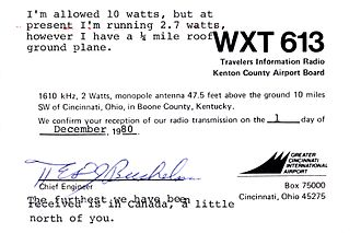 Travelers' information station - QSL card form TIS WXT613 at Cincinnati Airport