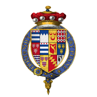 Arthur Grey, 14th Baron Grey de Wilton - Quartered arms of Arthur, 14th Baron Grey de Wilton, KG