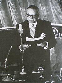 Rómulo Betancourt durante su discurso de toma de posesión (1959)