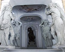 The four marble giants (left and right) that give the Riesenbau its name in its vestibule.