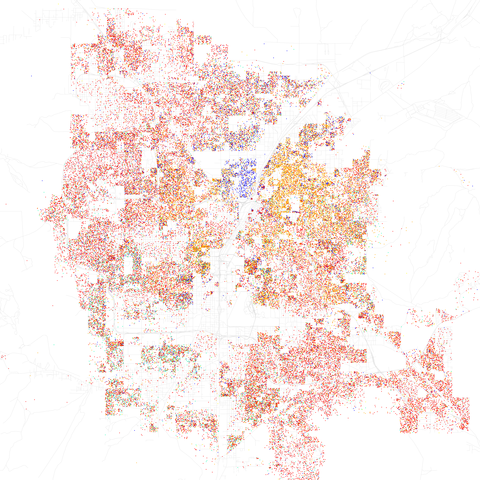 Map of racial distribution in Las Vegas, 2010 U.S. Census. Each dot is 25 people: White, Black, Asian Hispanic, or Other (yellow)