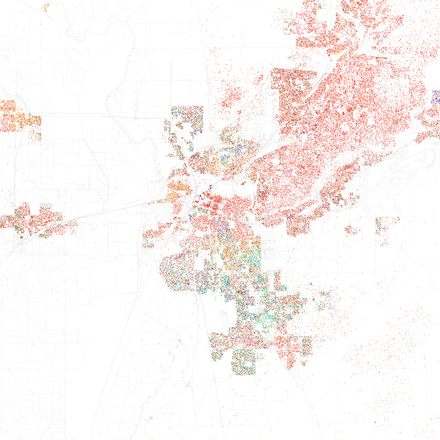 Map Of Racial Distribution In Sacramento 2010 U S Census Each Dot Is 25 People