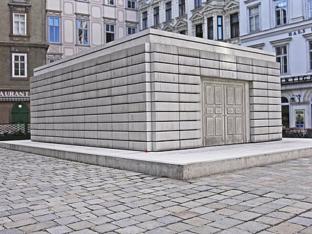 The Judenplatz Holocaust Memorial to the 65,000 Austrian Jews killed in the Holocaust, designed by Rachel Whiteread and completed in 2000 Rachel whitereadwien holocaust mahnmal wien judenplatz.jpg