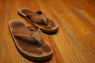 Rainbow Sandals - A pair of Rainbow flip flops demonstrating how they conform to the wearer's feet.