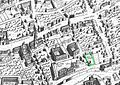 Ralph Agas map of Oxford 1578 Jesus marked.jpg