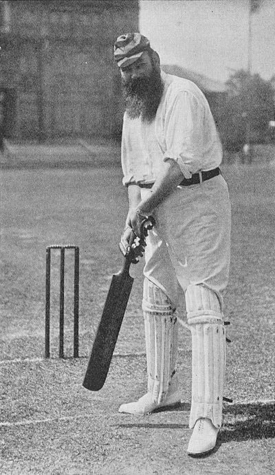 Ranji 1897 page 178 W. G. Grace playing half-cock.jpg