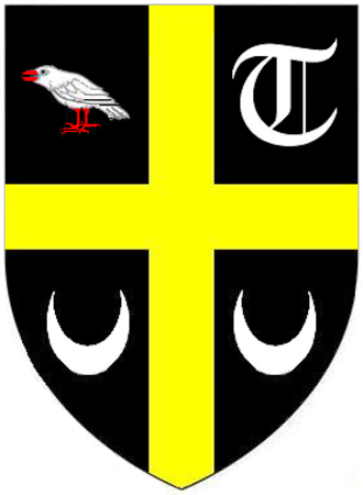 "Philip Rashleigh (1729–1811) - Arms of Rashleigh: Sable,  a cross or between in the first quarter: a Cornish chough, argent beaked and legged gules; in the second quarter: a text ""T""; in the third and fourth quarters: a crescent all of the third"
