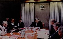Martin between Presidents Bush and Reagan in the Situation Room