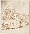 Recto- Landscape with Trees and Figures (? Remarks on the Winds and the Lay-out of the City; Vitruvius, Book 1, Chapter 6, nos. 2, 3)- Verso- Blank. MET DP160099.jpg