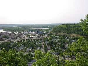 Red Wing, Minnesota - A look toward downtown Red Wing and the Mississippi River, with Barn Bluff on the right.