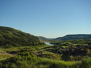 Dry Island Buffalo Jump Provincial Park - The Red Deer River valley inside the park.