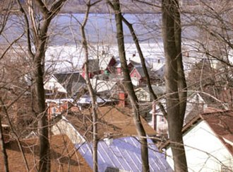 Rhinecliff, New York - Rhinecliff rooftops overlooking the Hudson River in winter