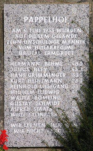 Friedrich Alpers - Image: Rieseberg morde pappelhof gedenkstein