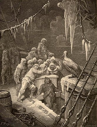 "The Rime of the Ancient Mariner - Engraving by Gustave Doré for an 1876 edition of the poem. ""The Albatross,"" depicts 17 sailors on the deck of a wooden ship facing an albatross. Icicles hang from the rigging."