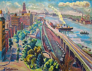 Riverside Park (Manhattan) - A painting of Riverside Drive and Riverside Park at about 145th Street, c.1940s
