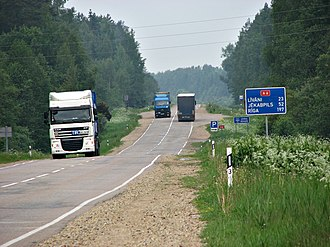 A6 road (Latvia) - Image: Road transport in Daugavpils municipality