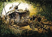 A painting that depicts an American tank smashing into a Japanese roadblock in December 1941