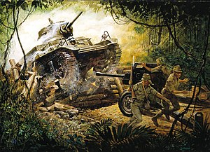 149th Armor Regiment - Painting depicting SSG Morello's M3 Stuart, smashing into a roadblock and an Imperial Japanese Army anti-tank gun that was behind it.