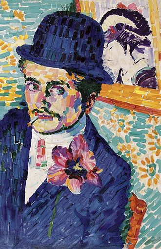 Salon d'Automne - Robert Delaunay, 1906, L'homme à la tulipe (Portrait de Jean Metzinger), oil on canvas, 72.4 x 48.5 cm (28 1/2 by 19 1/8 in). Exhibited at the 1906 Salon d'Autome (Paris) along with a portrait of Delaunay by Jean Metzinger