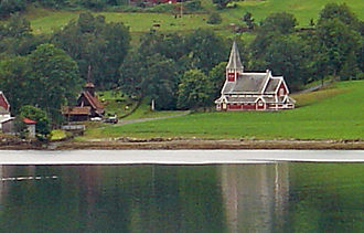 Rauma, Norway - View of the two churches in Rødven