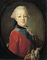 Семилетний Павел I с любимым орденом  Св. Анны, 1761 г.
