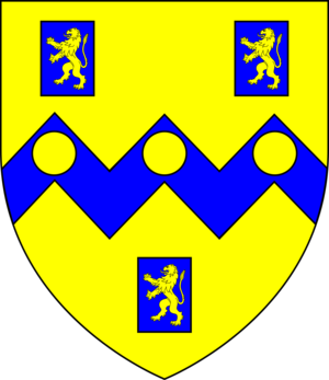 Baron Rolle - Arms of Rolle: Or, on a fesse dancetté between three billets azure each charged with a lion rampant of the first three bezants