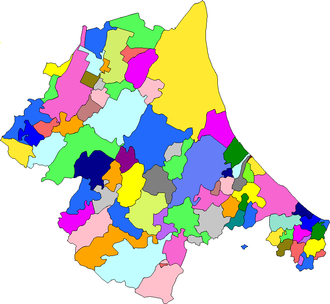 Romagna -  Map of Romagna, showing its administrative divisions (new territories not shown)