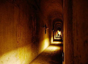 Secret passage - View of inside the Passetto, the secret passage between Vatican City and Castel Sant'Angelo in Rome, Italy