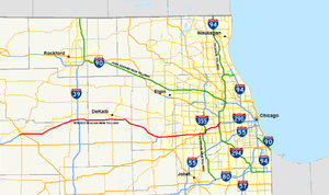 Interstate 88 (Illinois) - Map of the Ronald Reagan Memorial Tollway, the tolled portion of Interstate 88