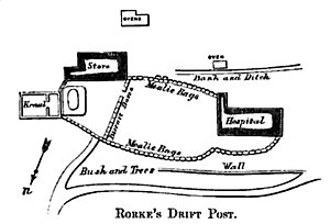 Whitworth Porter - Rorke's Drift Post, illustration from Whitworth Porter's History of the Corps of Royal Engineers, vol. II