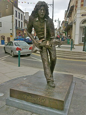 Ballyshannon - A statue of Ballyshannon native, rock singer, guitar player Rory Gallagher