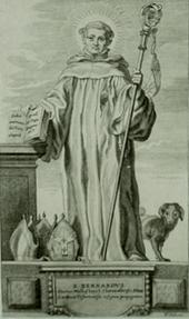 Bernhard mit Hund und abgelehnten Mitren (Quelle: Wikimedia)