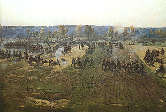 Bagration flèches - French artillery supports attack on the Bagration flèches, fragment of Borodino battle panoramic painting by Franz Roubaud. The fortification are on the far side of the paintings