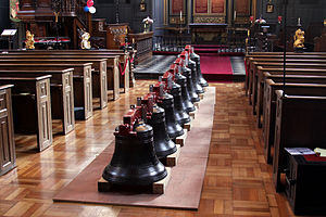 St James Garlickhythe - The Royal Jubilee Bells arranged down the aisle of St James Garlickhythe
