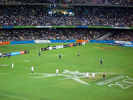 "The Commonwealth Games are the third-largest multi-sport event in the world, bringing together globally popular sports and peculiarly ""Commonwealth"" sports, such as rugby sevens, shown here at the 2006 Games. Rugby melbourne commonwealth games.jpg"