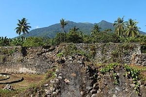 Fort Kastela - Looking past the ruins of the Portuguese-built Kastella towards Ternate's Gamalama volcano, from 2012
