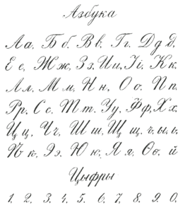 Russian Calligraphic Handwriting From A Schoolbook 1916 19th Century Variants Of Cursive Letters