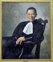 A painting of Ginsburg in her robe, smiling and leaning in a chair