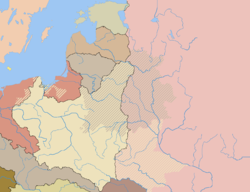 Poland after the Treaty of Riga with the pre-partitions border of the Polish-Lithuanian Commonwealth marked