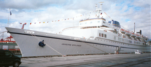 Semester at Sea - The S.S. Universe Explorer docked in Vancouver, British Columbia, shortly before embarking on the Fall 1997 Semester at Sea voyage.