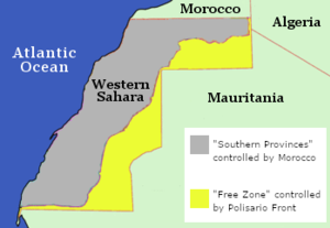 2011 Western Saharan protests - Locator map of the Western Sahara with zones of de facto control