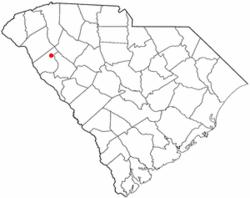 Location of Due West, South Carolina